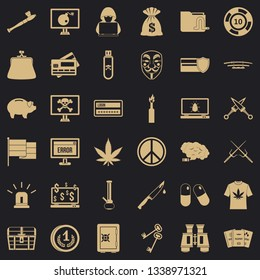 Criminal offence icons set. Simple style of 36 criminal offence vector icons for web for any design