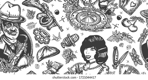 Criminal, old movie background. Crime night casino noir style. Gangsters seamless pattern. Boss plays saxophone, bandits weapons, croupier, pin up girl. Traditional tattooing style