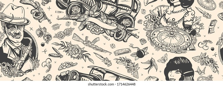 Criminal, old noir movie background. Gangsters. Retro crime seamless pattern. Boss plays saxophone, bandits weapons, croupier, pin up girl, casino, robbers. Traditional tattooing style