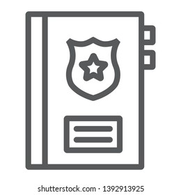 Criminal record line icon, note and law, police report sign, vector graphics, a linear pattern on a white background, eps 10.