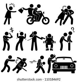 Criminal Robber Burglar Kidnapper Rapist Thief Icon Symbol Sign Pictogram