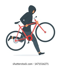 Criminal stealing bicycle vector illustration. Caucasian man in black hoodie cartoon character. Bike theft, law break, crime design element. Thief carrying vehicle isolated on white background