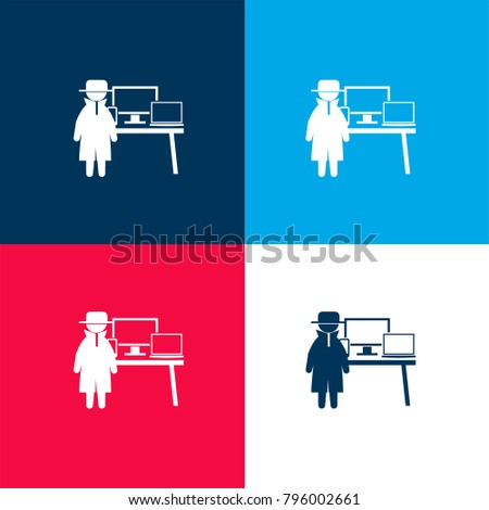 Criminal Stolen Computers Four Color Material Stock Vector
