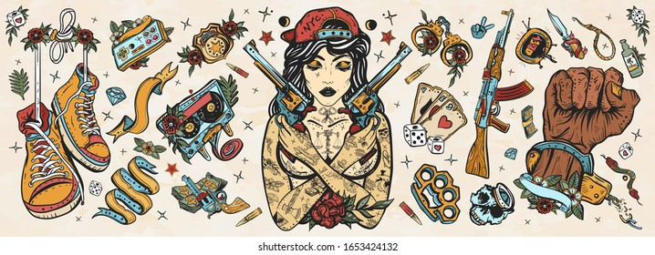 Criminal street culture. Old school tattoo vector collection. Bad girl and crossed guns, handcuffs, audio cassette. Swag. Hip-hop lifestyle. Cool gangster tattooed woman in baseball cap. Crime favela