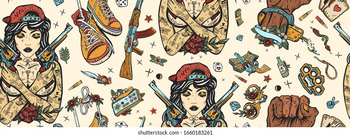 Criminal street culture seamless pattern. Old school tattoo. Swag. Hip-hop lifestyle. Cool gangster tattooed woman in baseball cap. Crime favela. Bad girl and crossed guns, handcuffs, audio cassette