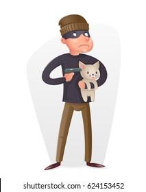 Criminal Thief Gun Hostage Character Crime threat Buyout Request Icon Retro Cartoon Vector Design Illustration