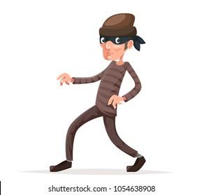 Criminal thief sneak walk cartoon character vector illustration