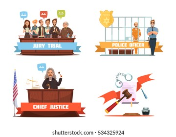 Criminal trial jury verdict and police officer with suspect 4 retro cartoon icons composition isolated vector illustration