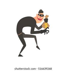 Criminal Wearing Mask Holding Money Bag Tiptoeing Committing A Crime Robbing The Bank