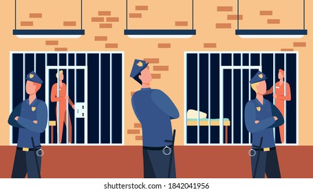 Criminals and guards in state prison. Policemen watching prisoners in cells of police department. Vector illustration for investigation, justice, jail concept