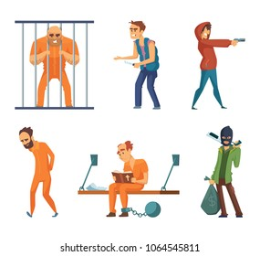 Criminals and prisoners. Set of characters in cartoon style. Vector criminal man, character prisoner in uniform illustration