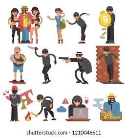 Criminals vector burglars or burglar character of criminal people illustration