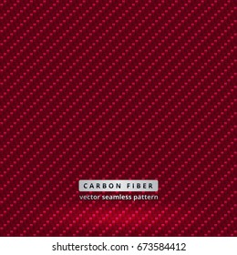 Crimson red carbon fabric with seamless vector pattern. Highly detailed realistic fiber texture for design of fashionable clothes, sportswear and car tuning. Turn off text layer to use a uniform tile.