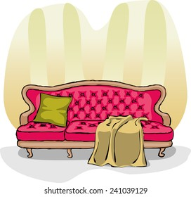 Crimson sofa with a blanket and pillow. Striped Wallpaper.