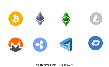 Cripto currency logo coins: Bitcoin, Etherium, Dash, Litecoin, Monero, Ripple, MaidSafeCoin