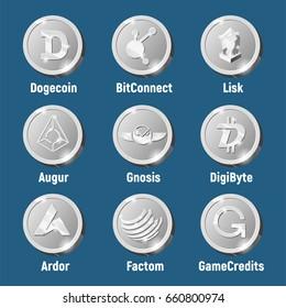 Cripto currency logo coins: GameCredits, Factom, Ardor, DigiByte, Augur, Lisk, BitConnect, Dogecoin, Gnosis. Silver vector set for apps and websites.