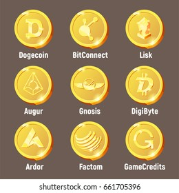 Cripto currency logo coins: GameCredits, Factom, Ardor, DigiByte, Augur, Lisk, BitConnect, Dogecoin, Gnosis. Golden vector set for apps and websites.