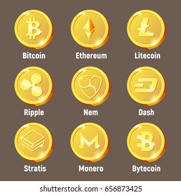 Cripto currency logo coins: Monero, Bytecoin, Stratis, Dash, Litecoin, Nem, Ripple, Ethereum, Bitcoin. Vector set for apps and websites
