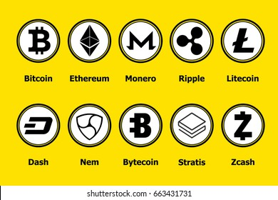 Criptocurrency blockchain icons a yellow background. Set virtual currency.Vector trading signs: bitcoin, ethereum, monero, ripple, litecoin,dash, nem, bytecoin, stratis, zcash.