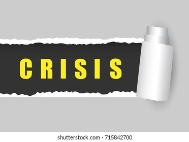 Crisis banner. Crisis ripper paper. Torn paper with text Crisis. Vector stock.