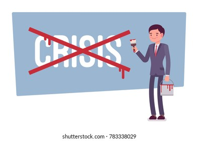 Crisis cancel cross. Young manager helps an organization to deal with negative event, potential risk, emergency situation at market or company. Vector business concept flat style cartoon illustration