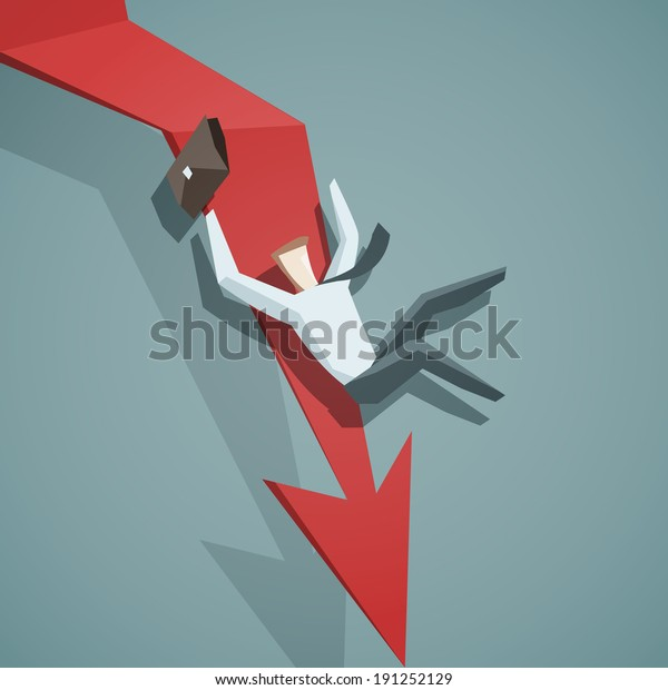 Crisis concept - Arrow graph going down and businessman is falling down