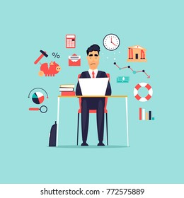 Crisis, frustrated businessman working at computer, icon set. Flat design vector illustration.