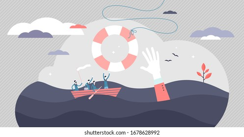 Crisis help vector illustration. Economical business support tiny persons concept. Government money assistance in coronavirus Covid-19 pandemic caused bankruptcy. Metaphoric scene with sinking boat.