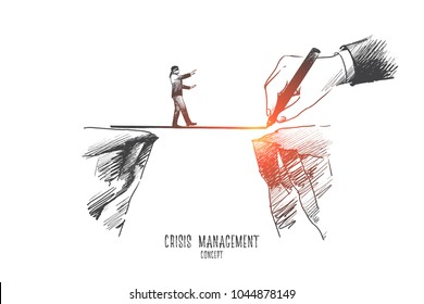 Crisis management concept. Hand drawn businessman is walking on a rope, symbol of crisis time in bussiness. Risking and making careful steps isolated vector illustration.