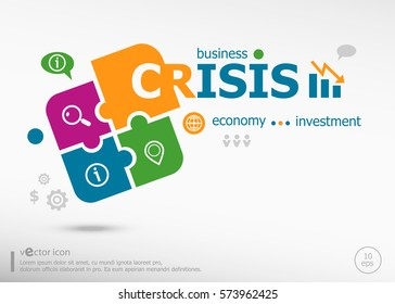 Crisis and marketing concept on colorful jigsaw puzzle. Infographic business for graphic or web design layout