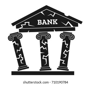 Crisis and problem of bank leading to collapse and breakdown of financial institution. Negative condition of architecture