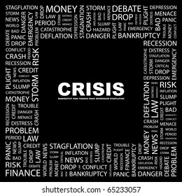 CRISIS. Word collage on black background. Illustration with different association terms.