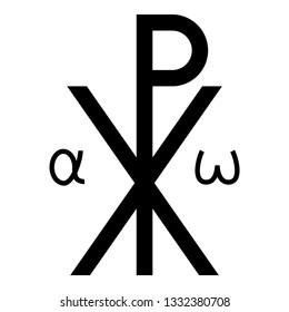 Crismon symbol Cross monogram Xi Hi Ro Konstantin Symbol Saint Pastor sign Religious cross Alfa Omega icon black color vector illustration flat style simple image