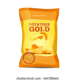 Crisp potato chips snacks vector bag package. Salted chips package, illustration of nutrition chips pack.