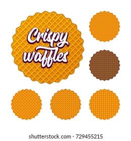 Crispy Belgian round waffles vector element set. Illustration for marketing. Isolated on white. Eps 10. Design for logo, bakery identity