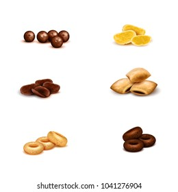 Crispy breakfast cereals of various shape and color realistic set on white background isolated vector illustration