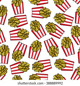 Crispy french fries seamless pattern with red and white striped paper boxes of fried potato. For fast food background or takeaway restaurant menu design usage