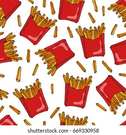 Crispy french fries seamless pattern with red paper boxes of fried potato. Vector Illustration Isolated On a White Background. Savoyar Doodle Style.