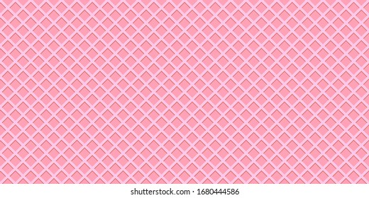Crispy pink sweet waffles or cone texture, seamless pattern, banner background