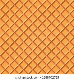Crispy sweet waffle.  Sweet food seamless pattern.
