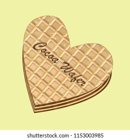 Crispy wafers in the shape of a heart with cocoa or chocolate filling