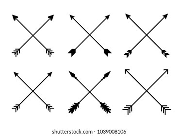 Criss cross arrows. Arrows in boho style. Tribal Set of Indian style arrows. Vector collection