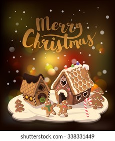 Cristmas Background with gingerbread houses, candy, and gingerbread little men, Vector illustration.