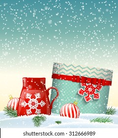 Cristmas greeting card with present and red teacup, winter theme in snowy landscape, vector illustration, eps 10 with transparency and gradient mesh