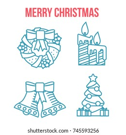 Cristmas linear flat icons. Lineart icons set/