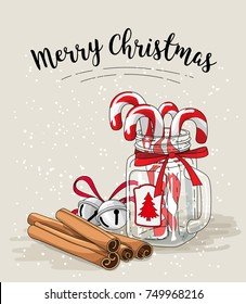 Cristmas still-life, candy canes in glass jar, cinnamon and jingle bells with text Merry Christmas on bright background, vector illustration, eps 10 wit transparency