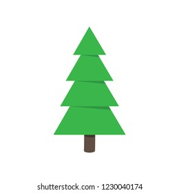 Cristmas tree fir flat style design icon sign vector illustration. Symbol of family xmas holiday celebration isolated on white background.  Simple shape for holyday. Merry christmas and happy new year