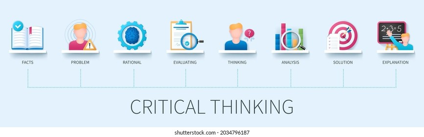 Critical thinking banner with icons. Facts, problem, rational, evaluating, thinking, analysis, solution, explanation icons. Business concept. Web vector infographic in 3D style