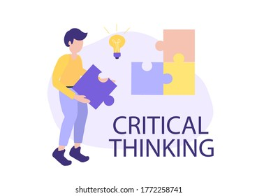 critical thinking concept, search for ideas, vector illustration