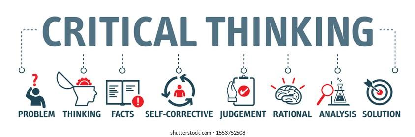 Kritisches Denken Vektor Illustration Konzept.  Banner mit Symbolen und Schlagwörtern. Kritisches Denken ist die Analyse von Fakten zu einem Urteil zu bilden